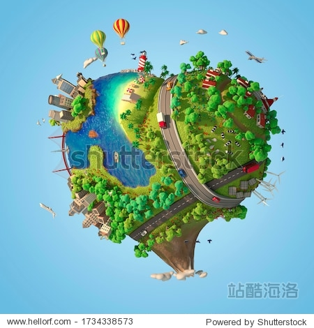 Heart shaped world showing a peaceful and sustainable lifestyle  green planet with clean energy and happy mood in sunny day as concept for love and peace. 3d render