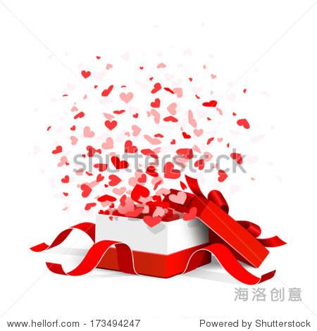 打开礼物盒子飞心孤立在白色的