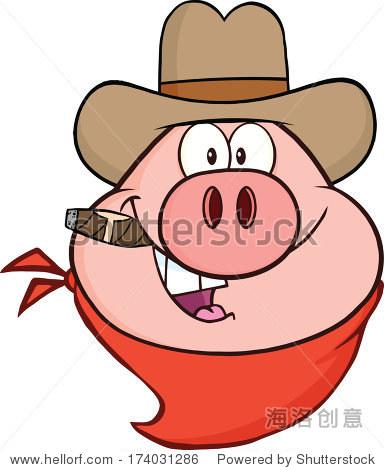 牛仔猪脑袋卡通人物.矢量插图孤立在白色的图片