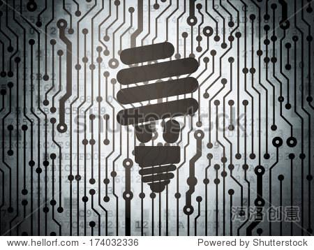经营理念:电路板与节能灯泡图标,3 d渲染