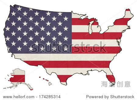 枯燥乏味的美国国旗地图孤立在白色背景,美国