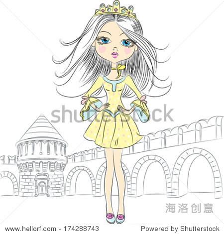向量漂亮时尚的女孩名模公主皇冠的城堡和城墙