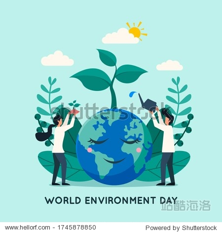 World environment day background with people water and plant a tree on earth. Flat style vector illustration concept of go green  earth day for poster and banner