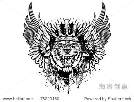 矢量插图老虎头皇冠和翅膀-动物/野生生物,符号/标志