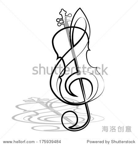 小提琴和高音谱号.插图.
