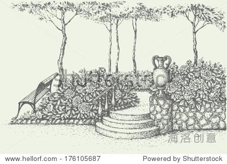 向量的风景 附近的公园长椅上树下楼梯与古代土罐盛开的花园包围 自然,公园 户外 海洛创意正版图片,视频,音乐素材交易平台 shutterstock中国独家合作伙伴 站酷旗下品牌