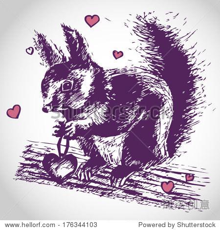 松鼠爱插图,画可爱的动物,情人节的动机,我爱你亲爱的