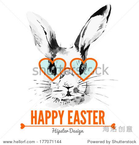 潮人复活节兔子.卡与素描水彩手绘插图