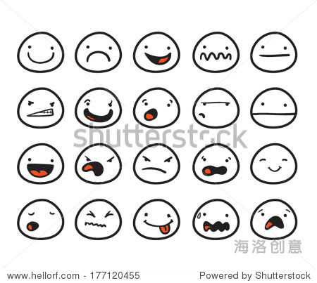 与不同的表情的可爱的笑脸