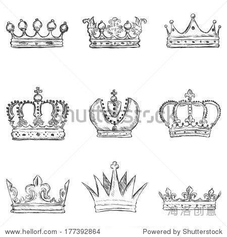 黑白装饰画手绘皇冠