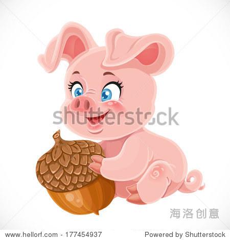 可爱的卡通猪宝宝拿着大橡子