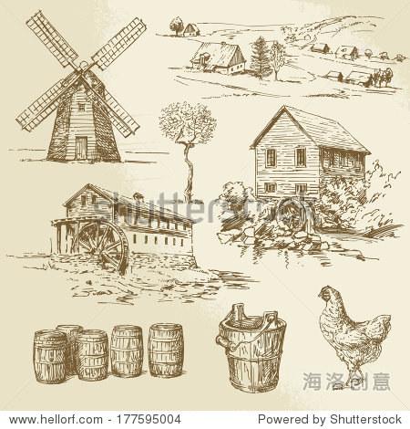 水磨和风车,手绘插图-建筑物/地标,食品及饮料-海洛