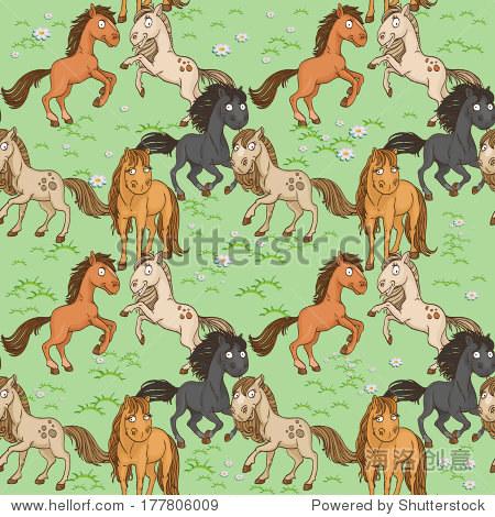 无缝的可爱的马一个绿色的草坪上嬉戏玩耍.光栅版