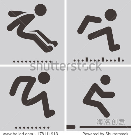 summer sports icons set - long jump
