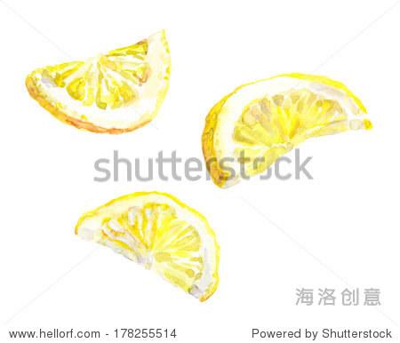 水彩手绘柠檬片孤立在白色背景
