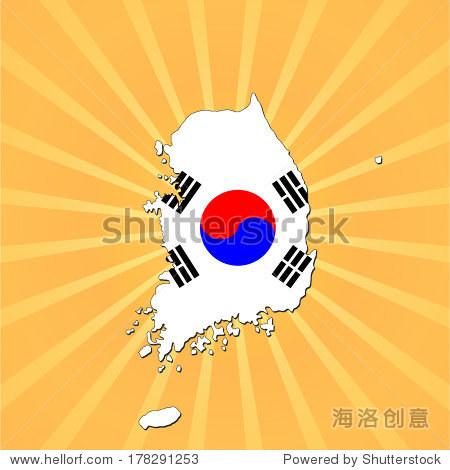 韩国国旗地图的阳光矢量插图