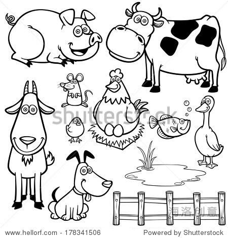 矢量插图的农场动物卡通——彩色书