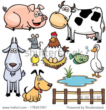 农场动物卡通的矢量插图