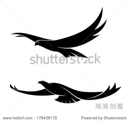 轮廓的黑色两个优雅的飞鸟翅膀在不同位置,矢量插图孤立在白色的