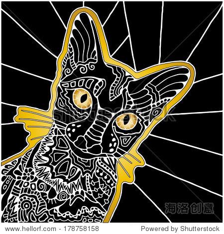 手绘装饰黑猫,华丽的花纹,卡通动物插图,黄色,白色和黑色,光栅的版本