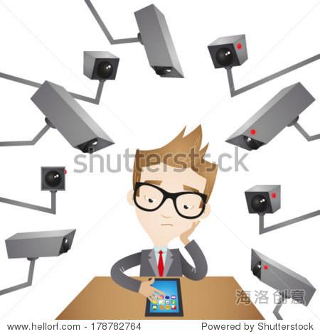 矢量图的卡通商人坐在他的办公桌周围监控摄像头监视他.