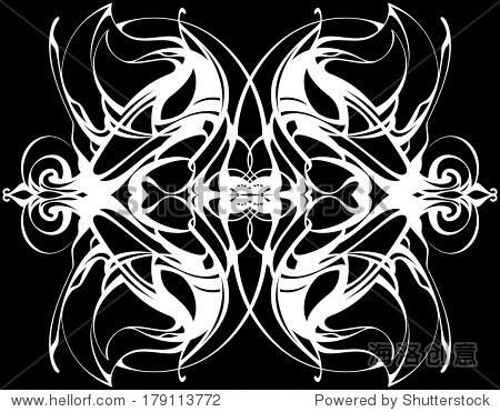 装饰圆黑色蕾丝图案,复古装饰有许多重叠的细节.精致的钩针编织花边.