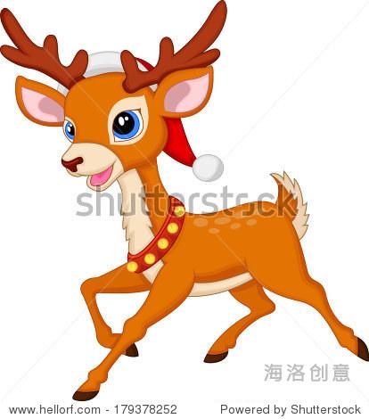 可爱的鹿和red hat卡通