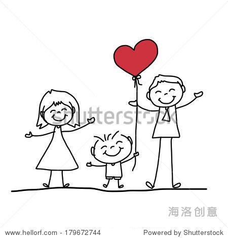 手绘卡通人物幸福的家庭