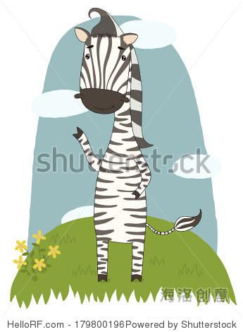 插图与可爱的卡通斑马
