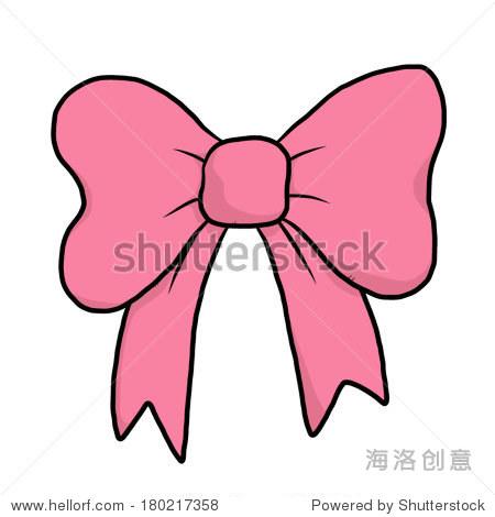 粉色蝴蝶结/卡通向量和插图,手绘风格,孤立在白色背景