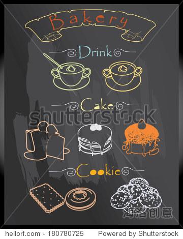 面包店菜单设置手画在黑板的餐厅