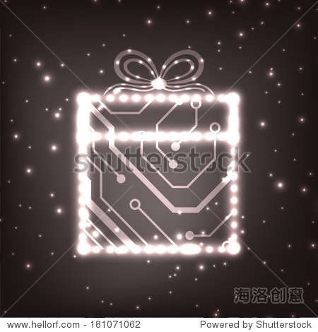 eps10向量电路板圣诞礼物盒背景纹理