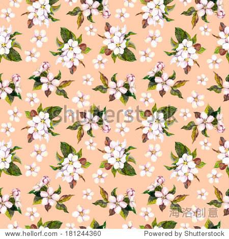无缝的花卉壁纸与aquarell手画苹果樱花盛开的粉色背景