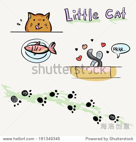 可爱的猫的颜色.孤立的卡通宠物.矢量插图.猫和鱼,猫日期