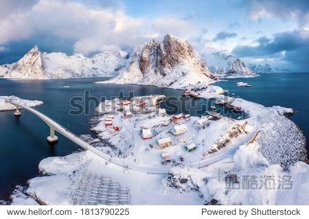 Stunning aerial view of winter Hamnoy village. Rorbu village in Lofoten islands  Norway.