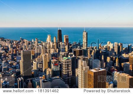 芝加哥的摩天大楼,鸟瞰图
