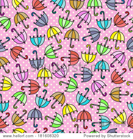雨伞无缝模式.粉色圆点花纹背景.孩子们的背景.