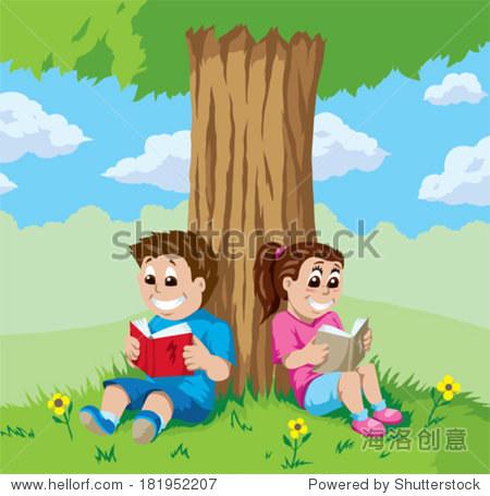 孩子们在树下看书