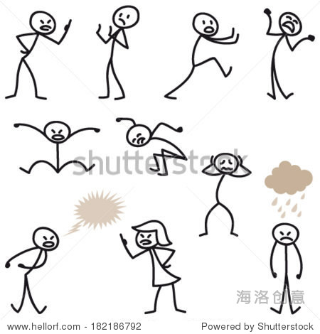 Set of vector stick figures Angry, bad tempered and grumpy stick man jumping and fighting.
