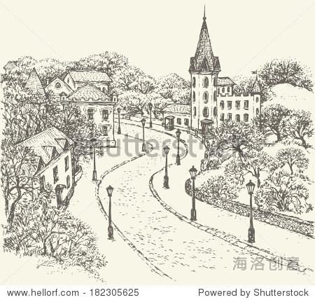 向量的风景.鹅卵石街道的老城是沿着栅栏公园,古老的城堡