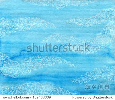 浅蓝色水彩背景与白色花卉装饰.手绘图