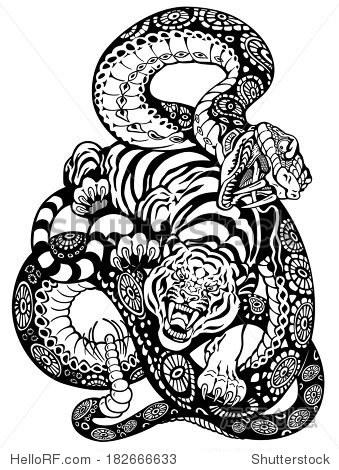 蛇和老虎战斗,黑白纹身插图