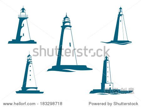 灯塔导航和安全标志标识概念设计 - 建筑物/地标,抽象