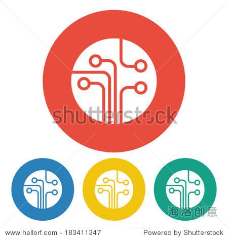 电路板,技术图标矢量插图.平面设计风格