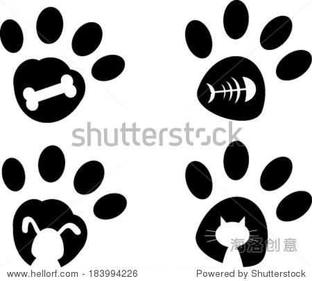 可爱猫爪矢量图