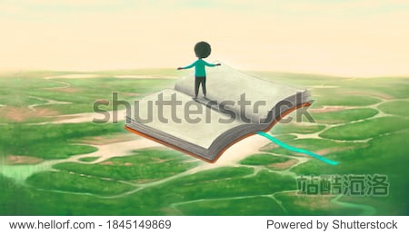 Education imagination learning dream and freedom concept  boy riding flying book. surreal painting. Fantasy art  conceptual artwork  happiness of child illustration
