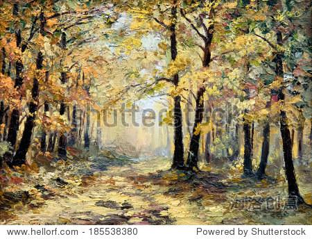 油画风景——秋天的森林,落叶,彩色图片,抽象绘画