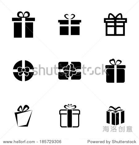 矢量图标设置在白色背景黑色礼物