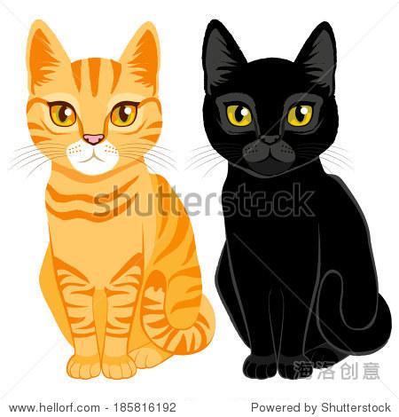 可爱的橙色虎斑猫,黑色和橙色和黄色的眼睛