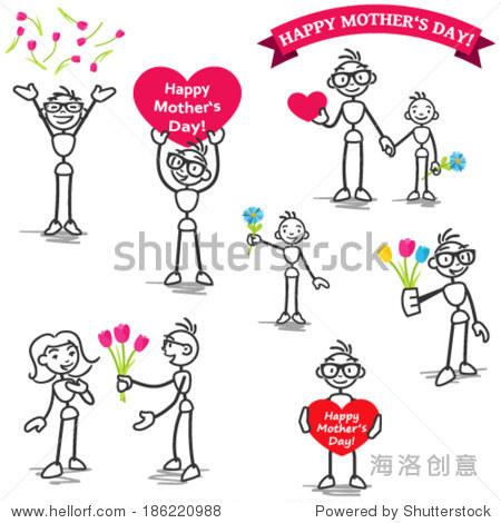 组向量简笔画:曲棍球手庆祝母亲节